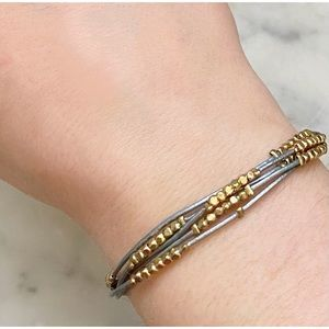 Silver & Gold Boho Beaded Drawstring Bracelet